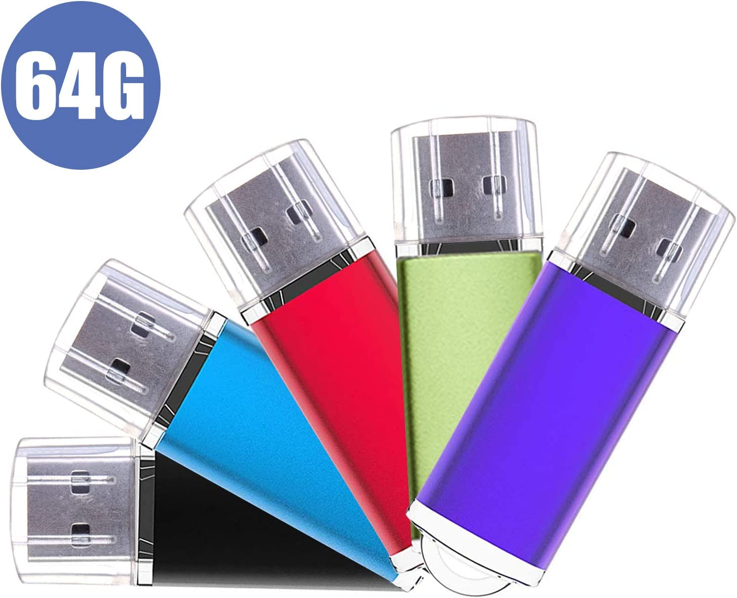 USB Flash Drive,5 Pack 64GB Pen Thumb Drives Jump Drive Memory External Storage Stick with Keychain Design /& Led Indicator 5 Mixed Color