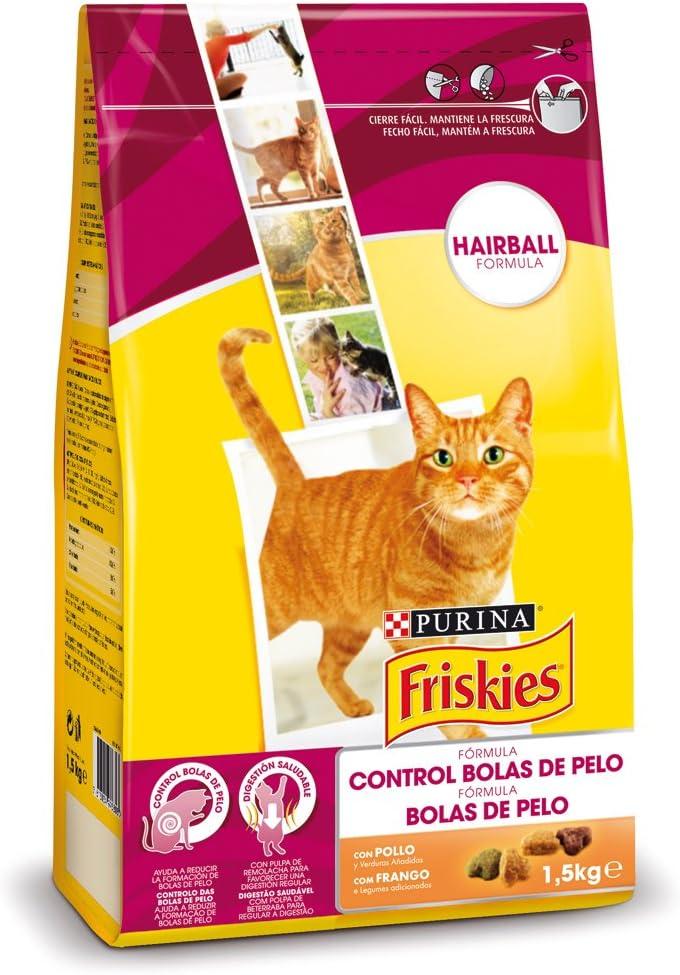 Purina Friskies Control Bolas de Pelo Pienso para Gato Adulto Pollo y Verduras 6 x 1,5 Kg: Amazon.es: Productos para mascotas