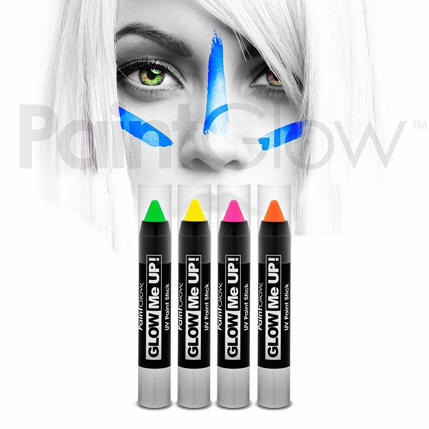 Premium Neon UV Face Paint Stick/Body Crayon makeup for the Face & Body - Vibrant set of 4 colours - Glows brightly under UV lighting Paint Glow