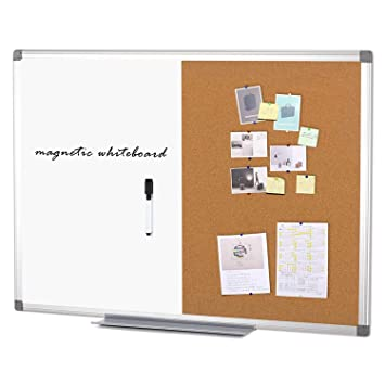 Tablero de anuncios de corcho magnético de pizarra blanca SwanSea con marco de aluminio, 60x45cm