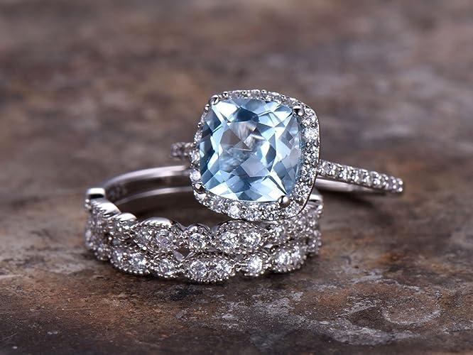 Amazon Com 3pcs Blue Topaz Wedding Ring Set 8mm Cushion Engagement