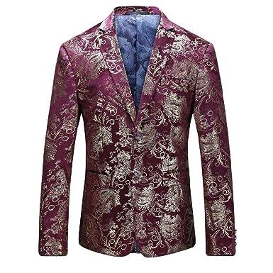 Allthemen Traje de Vestir de Terciopelo Casual Hombre Slim Fit Estampados Florales Abrigos Elegantes Blazer Chaquetas Elegantes