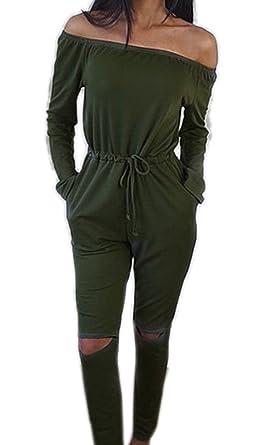 cbe46272eb66fb ECOWISH Langarm Sexy Hosenanzug Jumpsuit Damen Elegant Lang Hosen Trägerlos  Overall