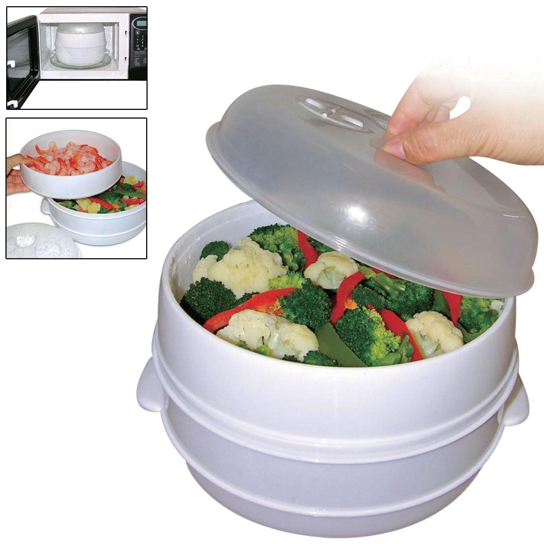 Nivel 2 Microondas Vaporizador Para Cocinar & Vapor Verduras Pez ...