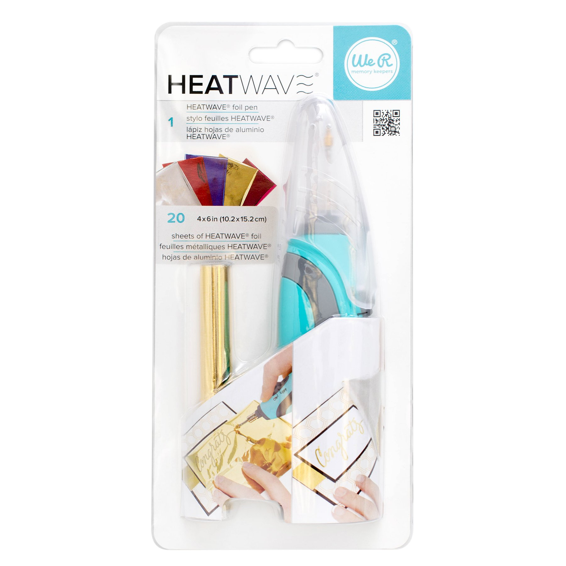 American Crafts Heatwave Pen Starter Kit by We R Memory Keepers | Includes Heatwave Pen and 20 4 x 6-inch foil sheets in various colors
