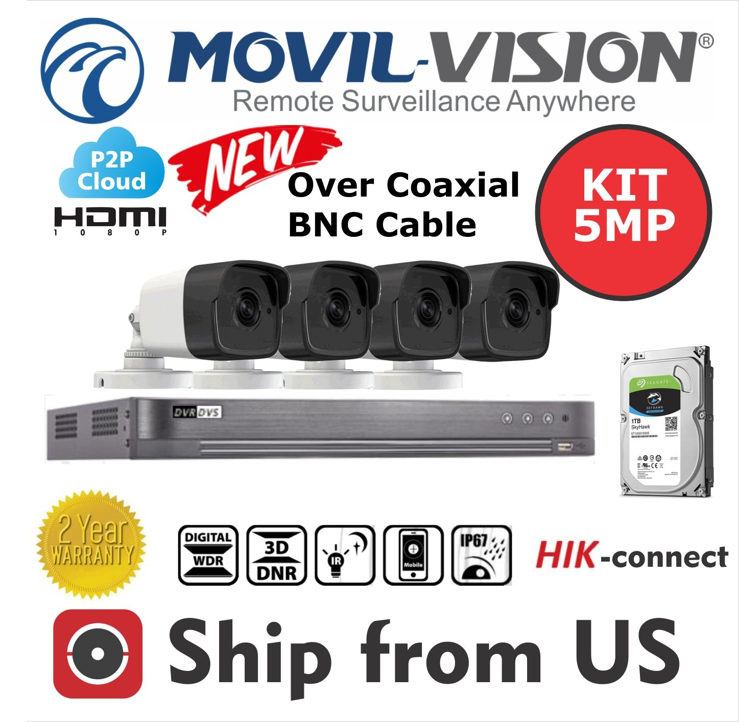 Amazon.com : Kit 4CH DVR 5MP, 4 Camera 5MP Lens 2.8mm, 1TB ...