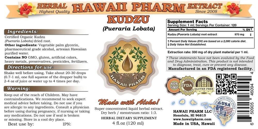 Kudzu Liquid Extract, Organic Kudzu (Pueraria lobata) Tincture 32 oz by HawaiiPharm (Image #2)