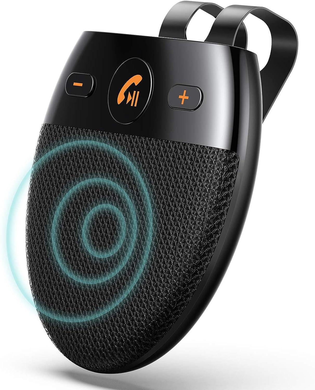 AGPTEK Manos Libres para Coche Bluetooth 5.0 con Siri, Kit de Coche Altavoz Inalámbrico con Encendido Automático y Emparejamiento Inteligente, Soporta Conexión de 2 Teléfonos Simultáneamente, Negro