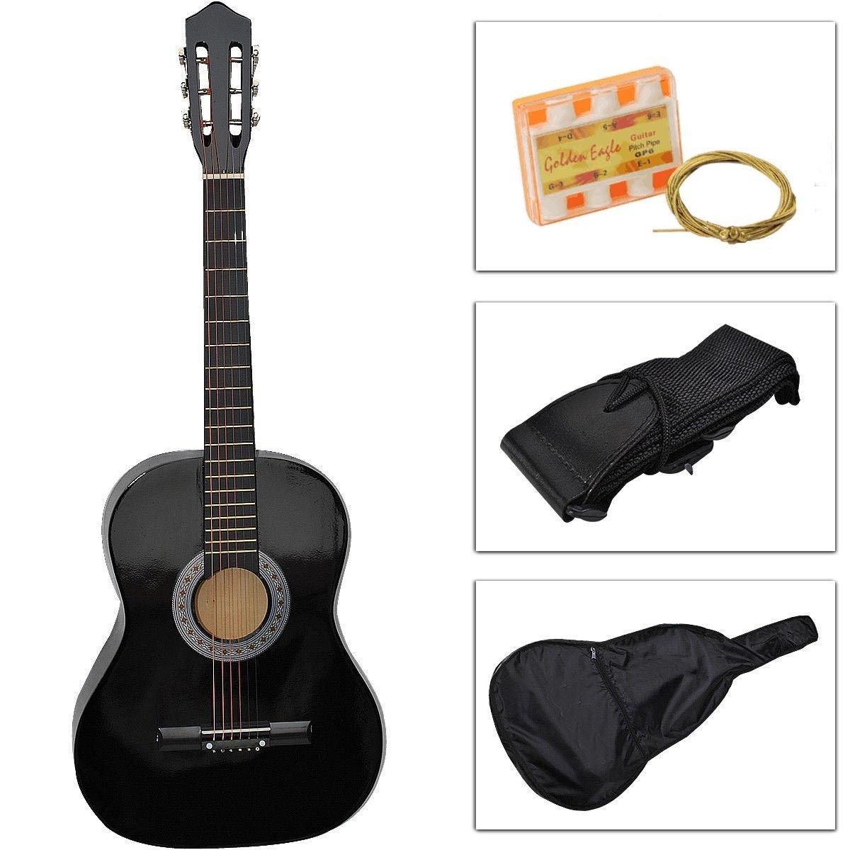 Beginners Guitarra acústica con funda para guitarra, correa ...
