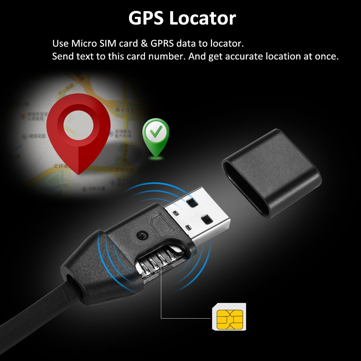 Audio Sound Listening Real Time GSM GPRS Tracking Device Fits for iPhone and Android Support SIM Card 2-in-1 Mini Spy GPS Tracker for Vehicles and USB Charger Cable