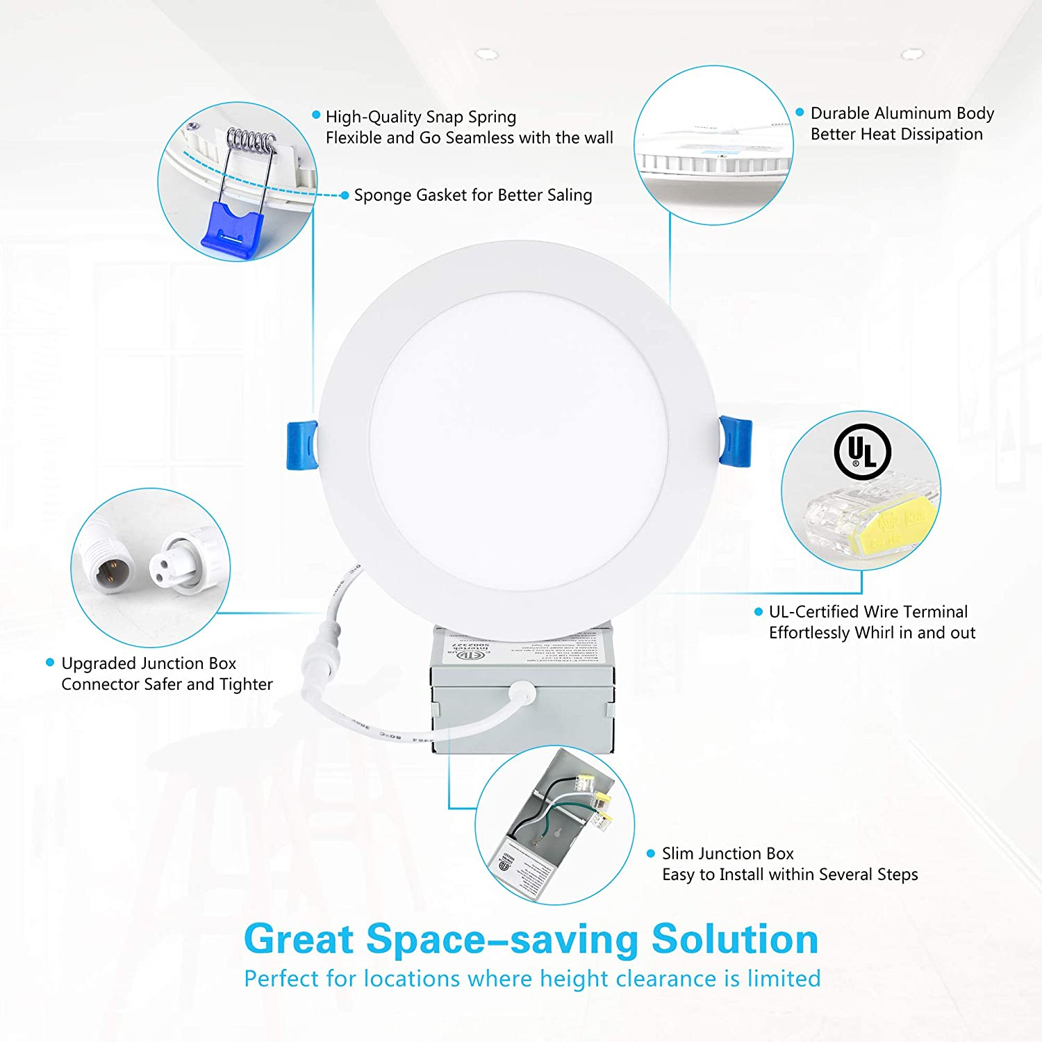 1050LM High Brightness 2700K Soft White Dimmable Can-Killer Downlight 12W 110W Eqv Ensenior 12 Pack 6 Inch Ultra-Thin LED Recessed Ceiling Light with Junction Box ETL and Energy Star Certified/…