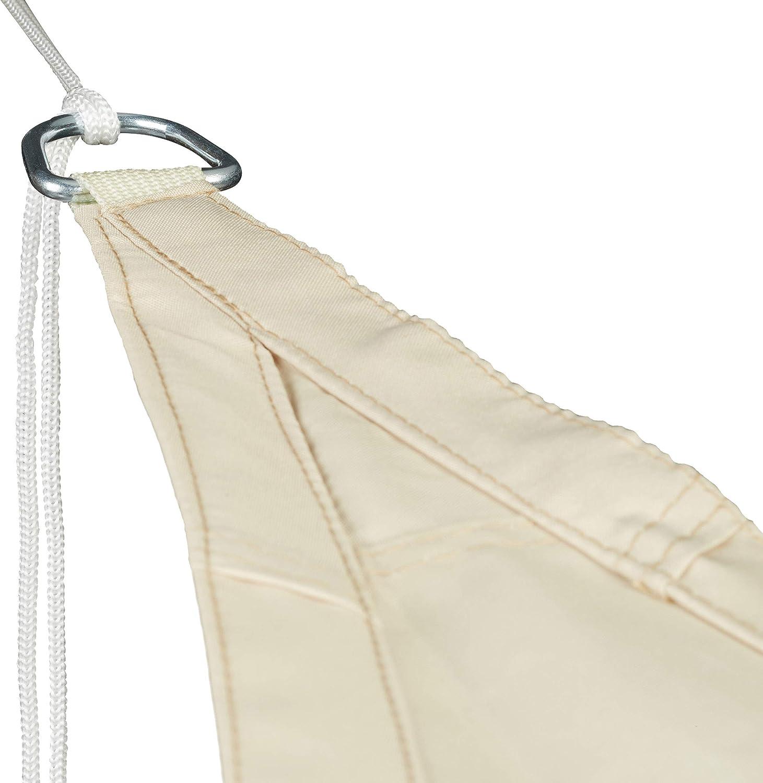 Beige Triangolare con Corde per Il Fissaggio per Giardino terrazza HxLxP 0,1x350x290 cm Relaxdays Vela ombreggiante Parasole