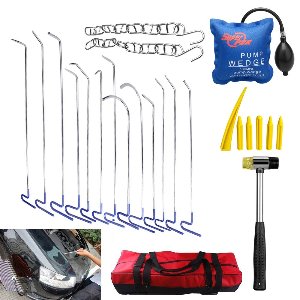 Super PDR 13pcs Car Body Repair Tool Kits Paintless Dent Removal (Pdr)tips Tool Sets Blue with Bag