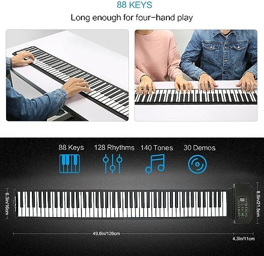 Lujex Piano plegable 49/61/88 teclas flexibles, digital, MIDI, teclado enrollable, Schwarz 88 Tasten
