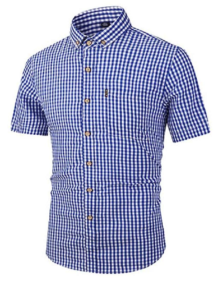 Spirio Mens Summer Short Sleeve Slim Fit Plaid Print Cotton Button Down Dress Shirt