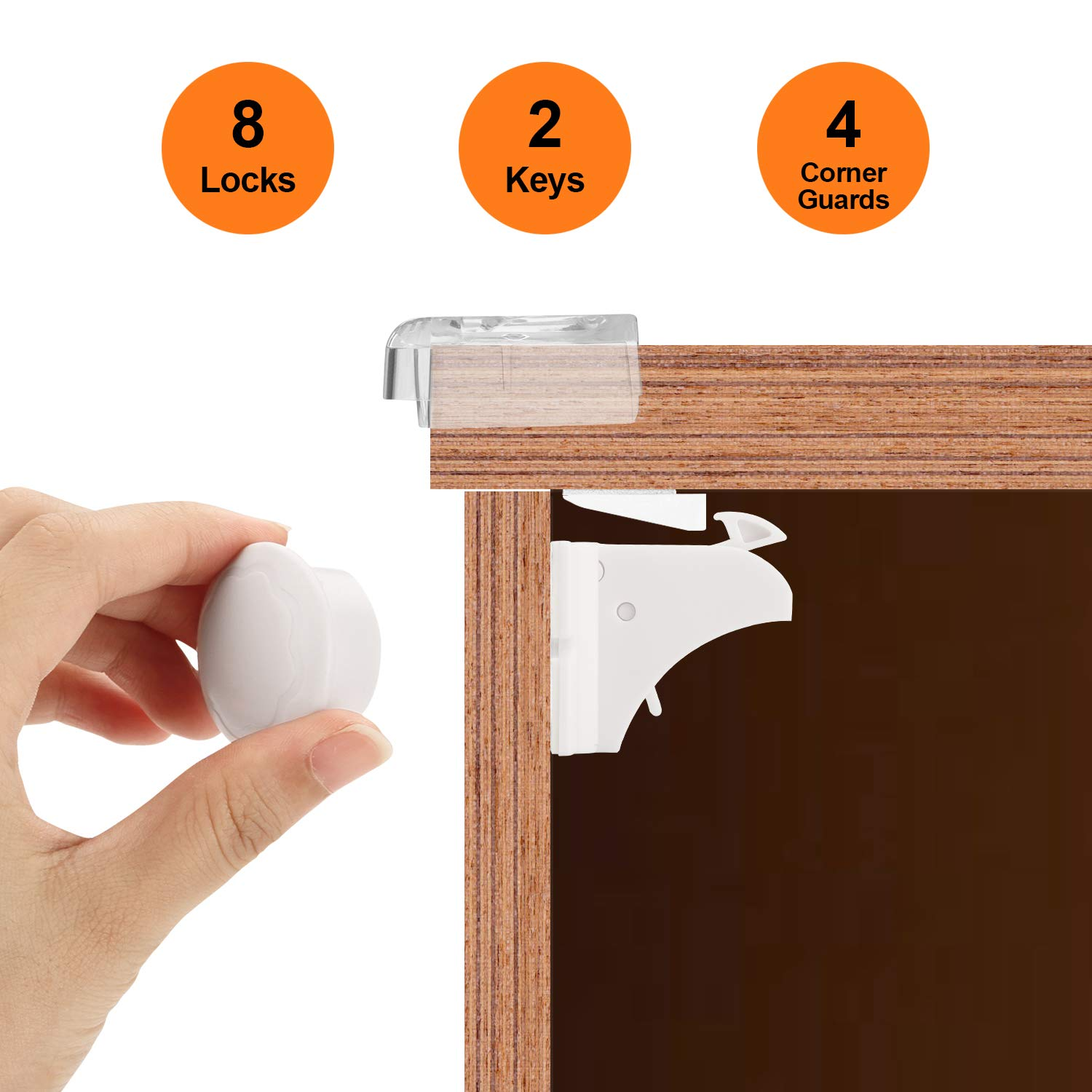 Baby Proofing Magnetic Cabinet Locks Child Safety, Fixm Kids Proof Cupboard Locks Latches with 3M Adhesive for Cabinet & Drawers (8 Locks + 2 Keys + 4 Corner Guards)