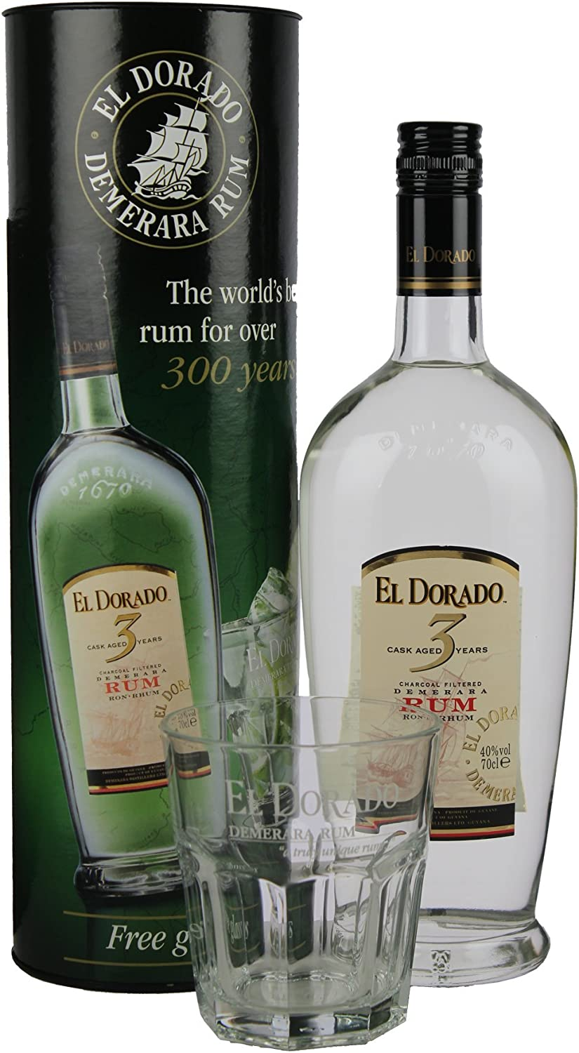 El Dorado 3 Years Old Rum in Gift Box with Glass - 700 ml