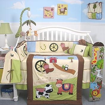 boutique baby boy farmland ranch baby crib nursery bedding set 13 pcs included diaper bag with