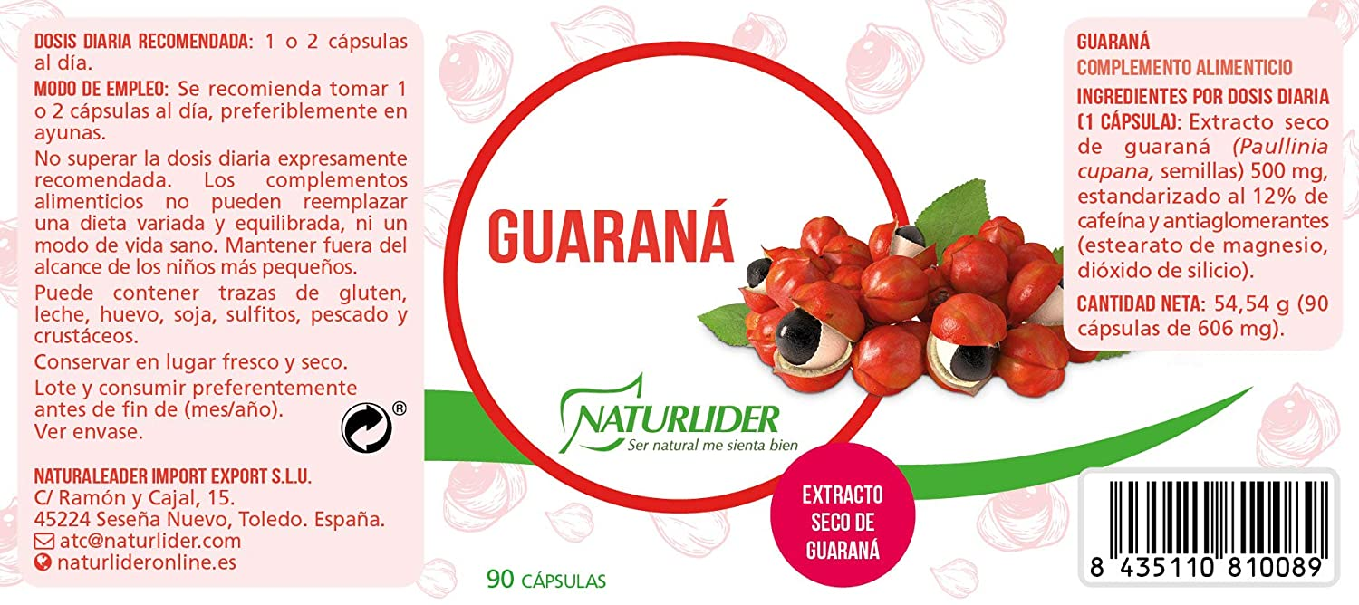 Naturlider Vitanutrients Guaraná - 90 cápsulas: Amazon.es ...