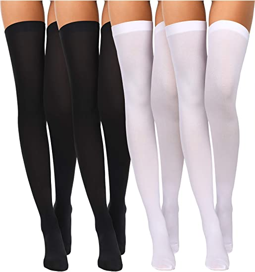 Ladies Hold-Up Stockings Red with Black Bow Halloween Fancy Dress Accessory New