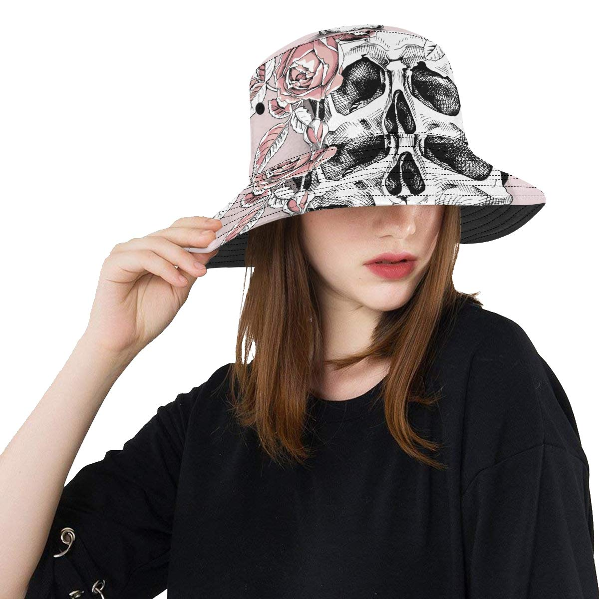 Human Skull Flower Wreath New Summer Unisex Cotton Fashion Fishing Sun Bucket Hats for Kid Teens Women and Men with Customize Top Packable Fisherman Cap for Outdoor Travel