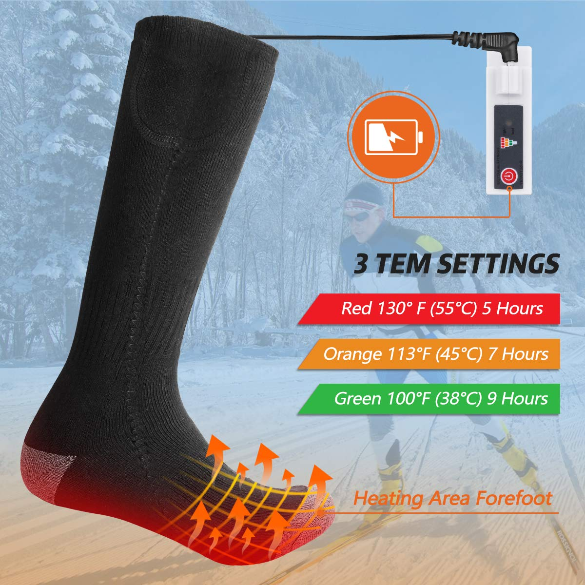 Winter Socks Sport Outdoor QiMH Electric Heated Socks Rechargeable Battery Powered Comfortable Socks Climbing Hiking Skiing Camping Foot Boot Heater Warmer for Men Women
