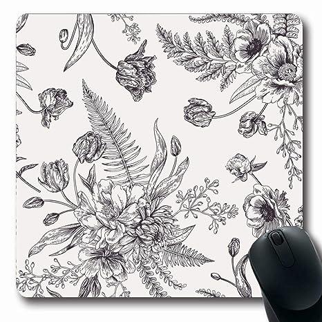 Amazon.com  Ahawoso Mousepad Oblong 7.9x9.8 Draw Floral