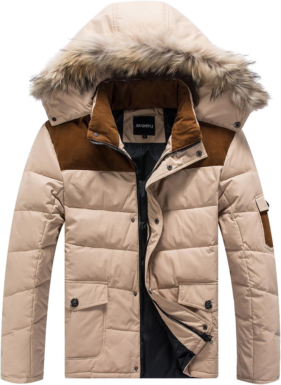 fashciaga Mens White Duck Down Hooded Coat