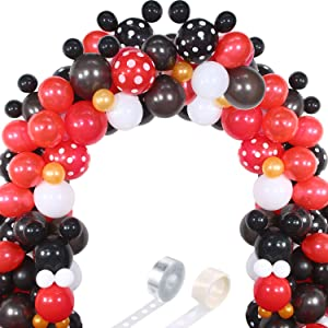 117 Mouse Balloon Garland Arch Kit Black Red White Gold/Rose Red Pink Balloon Garland Arch and Balloon Strip for Mouse Theme Party Baby Shower Birthday Wedding Decoration (Black Red Mouse Color)