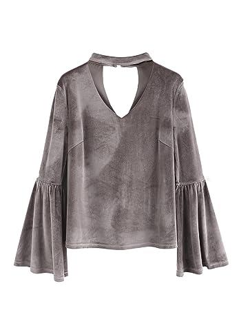 Women's Casual Choker V Neck Long Bell Sleeve Velvet Top Blouse