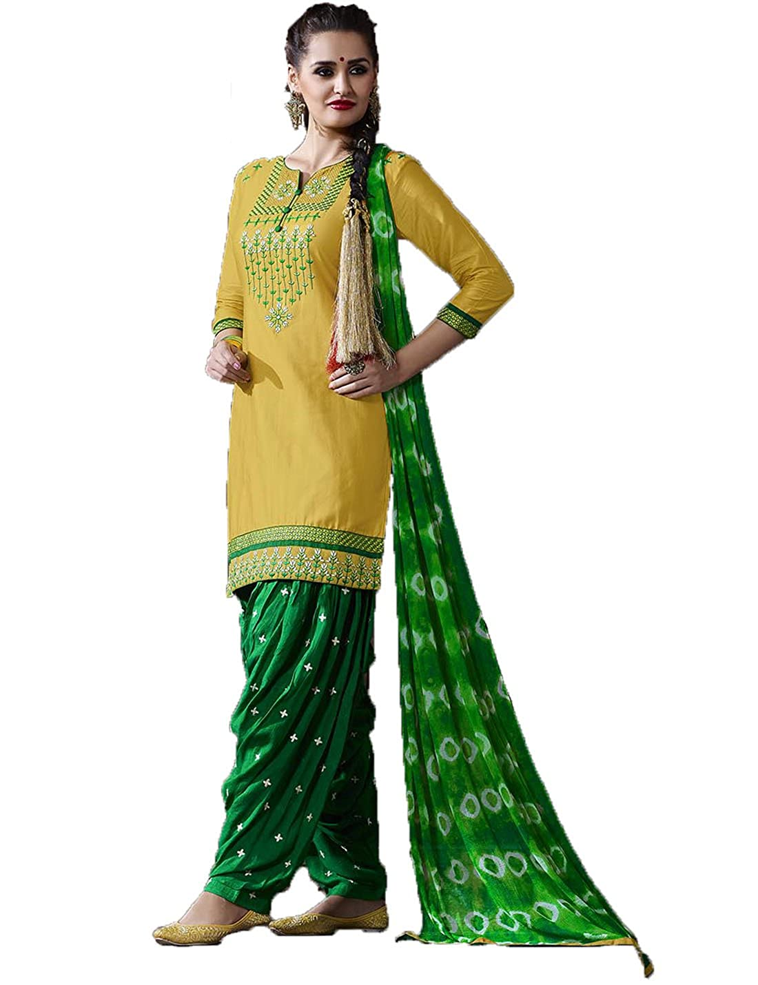 73c2e7634c Jambudi Creation Yellow and Green Punjabi Patiala Embroidered Salwar Suit  Dress Material: Amazon.in: Clothing & Accessories