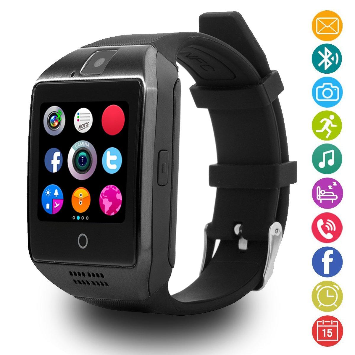Montres Connectée, LATEC Smartwatch Bluetooth Smart Watch avec Caméra Écran Incurvé Tactile Support SIM / TF Card Podomètre Sommeil Compatible Smartphones ...
