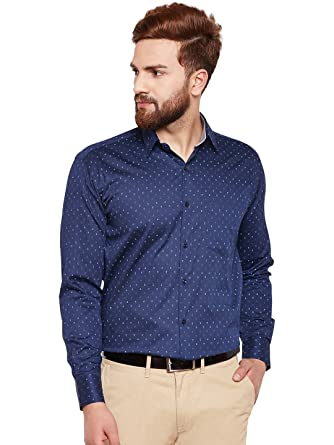 2e8515d19a5 Hancock Navy Printed Pure Cotton Regular Fit Formal Shirt  Amazon.in   Clothing   Accessories