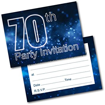 Doodlecards 70th Birthday Party Invitations Male Invites Pack Of 20 Postcards And Envelopes