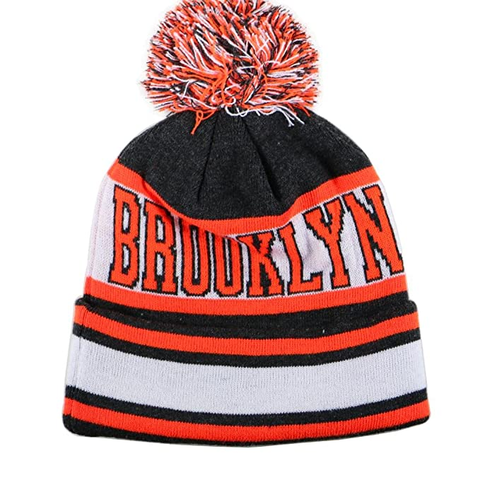 54489eb5e01f1d City Hunter Sk1130 Brooklyn Stripes Pom Pom Beanie Hats (Dark Grey/neon  Orange)