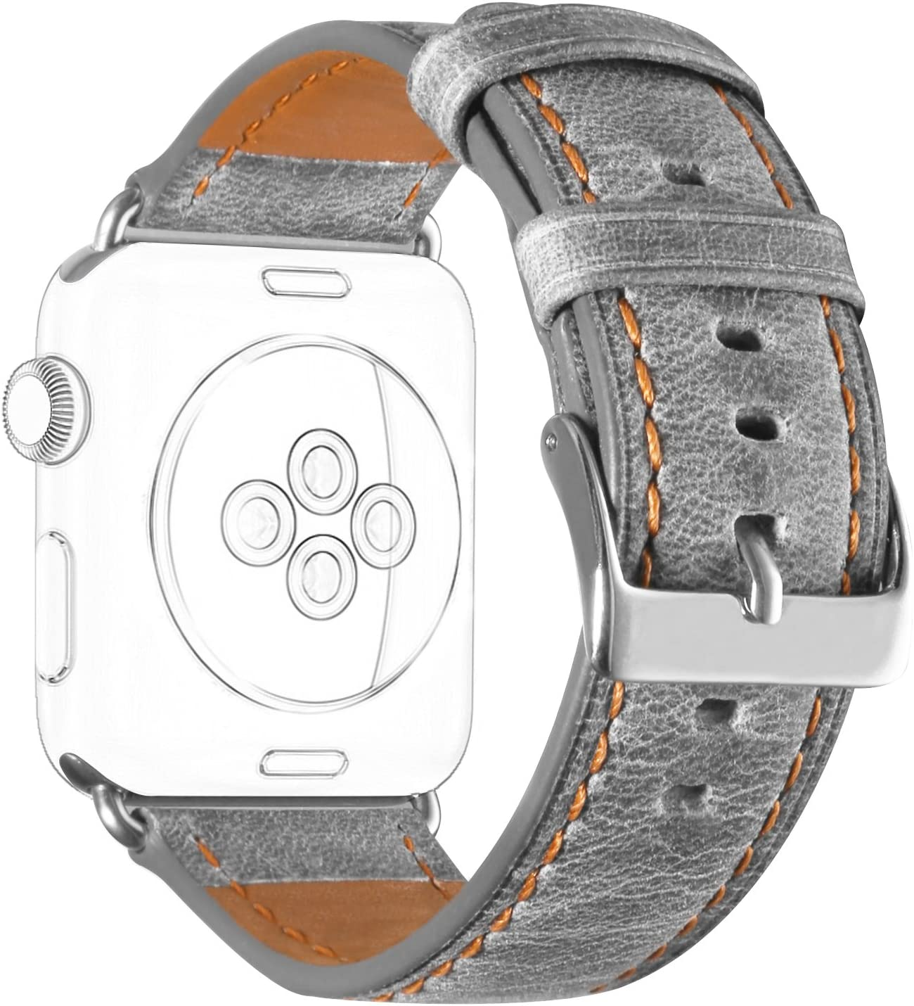 DaGeLon Compatible with Apple Watch Band 44mm Series 6 Series 5 Series 4 42mm Series 3 2 1, Comfortable Leather Watchband Retro Replacement Strap Durable Wristband for iWatch SE, Sport Edition, Gray