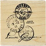 Inkadinkado French Postcard Wood Stamp for Card Decorating and Scrapbooking, 2'' W x 2'' L