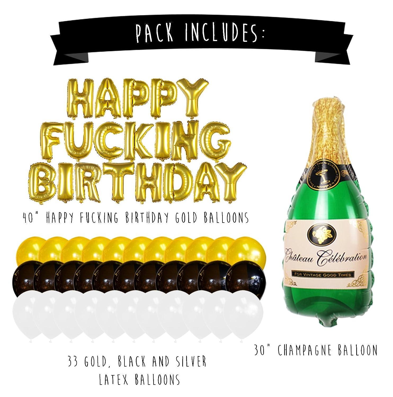 Sterling James Co. Conjunto de Globos Dorados de Cumpleaños y Champagne - Decoraciones de Fiesta de Cumpleaños - 21, 30, 40, 50 Años - Artículos Divertidos ...