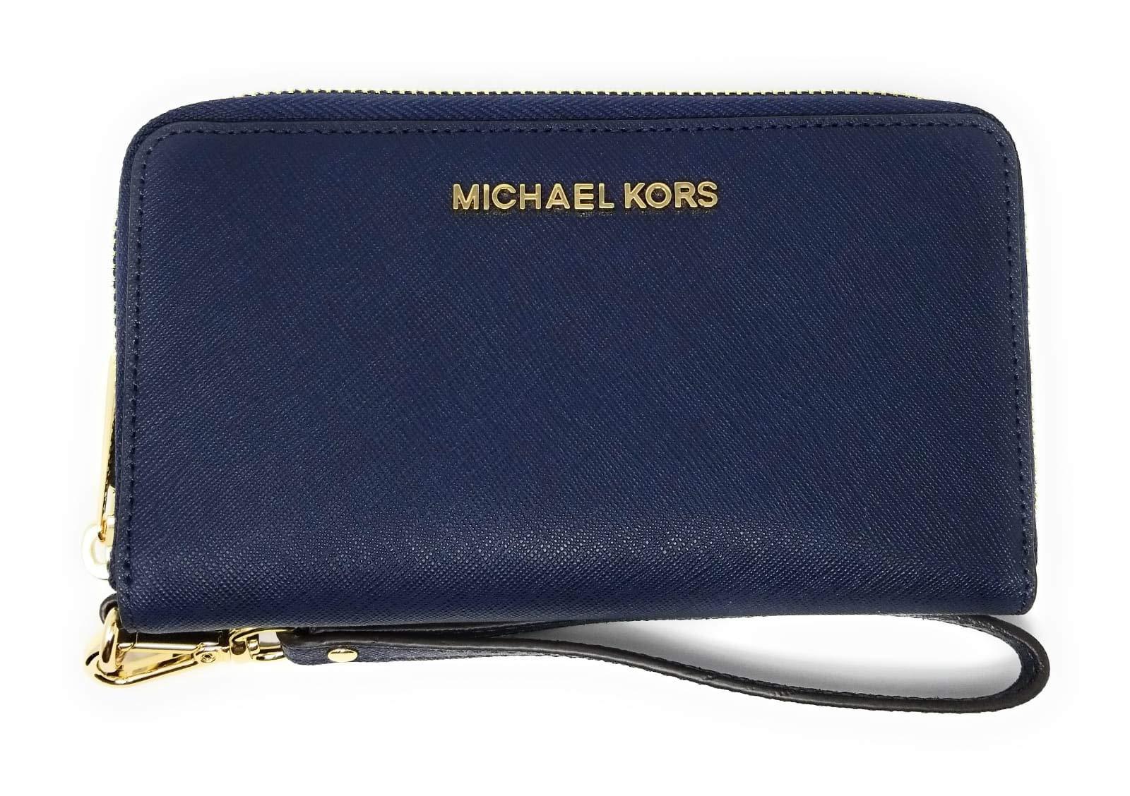Michael Kors Women's Jet Set Travel Large Smartphone Wristlet (Navy)