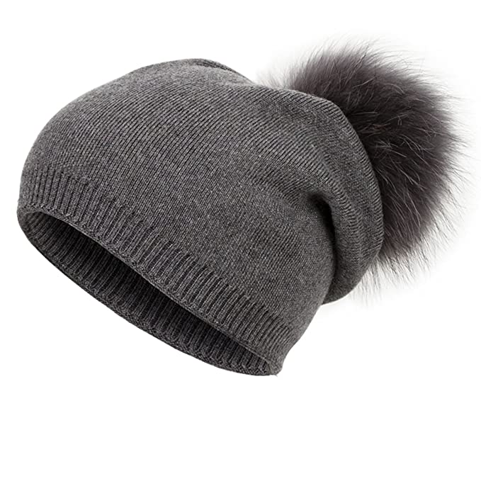 1c1d2ca67 EVRFELAN Winter Raccoon Fur Pompom Knit Hat Beanie Warm Thick Skull ...