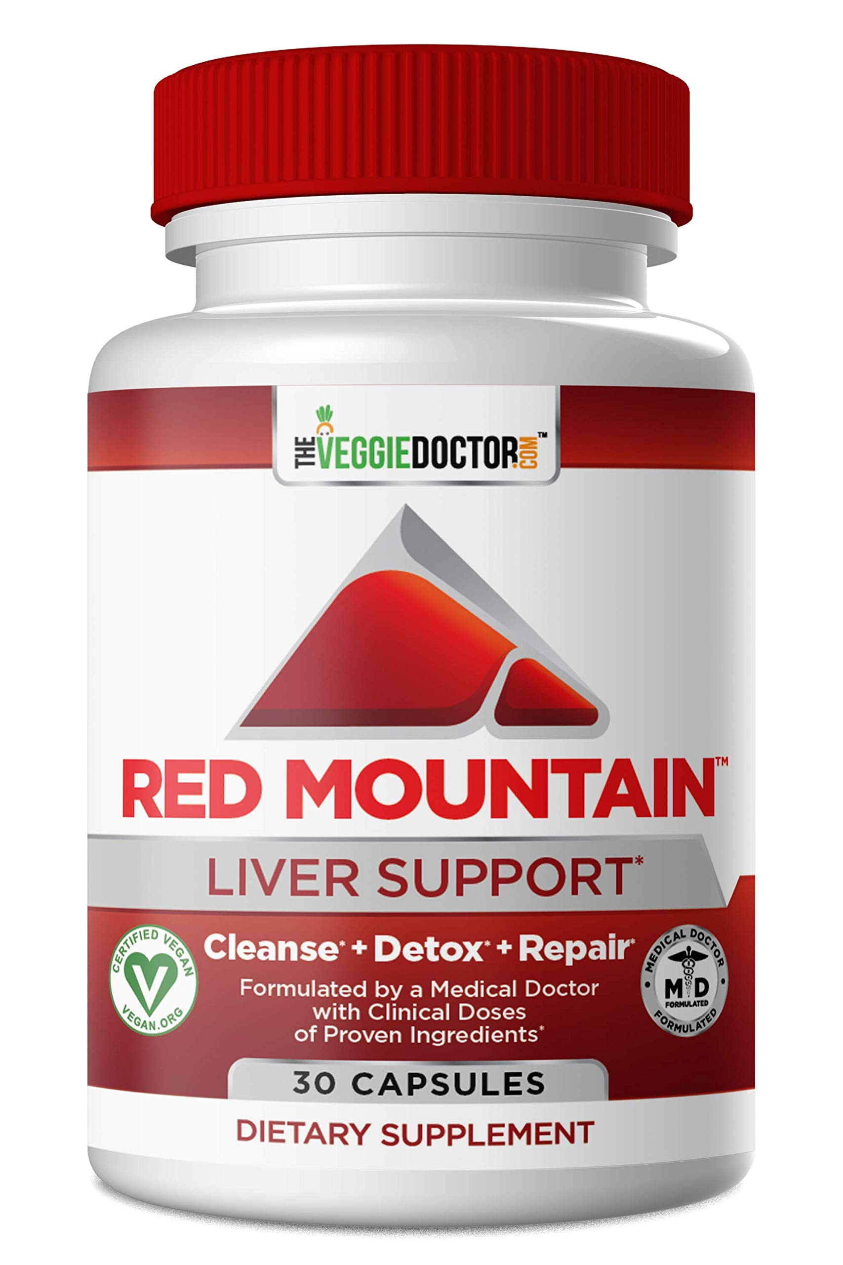 Red Mountain Liver Cleanse Detox Repair & Daily Support Supplement- Physician Formulated Detoxifier & Regenerator. Proven Ingredients- Milk Thistle (Silymarin), NAC, Dandelion Root 30 Vegan Capsules by The Veggie Doctor