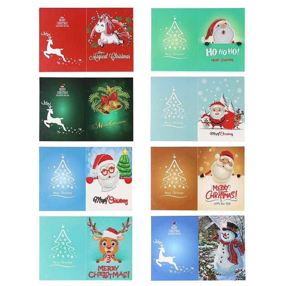 UEB Biglietti di Auguri Natale Inviti per Feste di Natale Fai da te Babbo Natale Renna Pupazzo di Neve albero di Natale 5D Diamond Painting biglietti d'auguri (4pcs-Stile A)