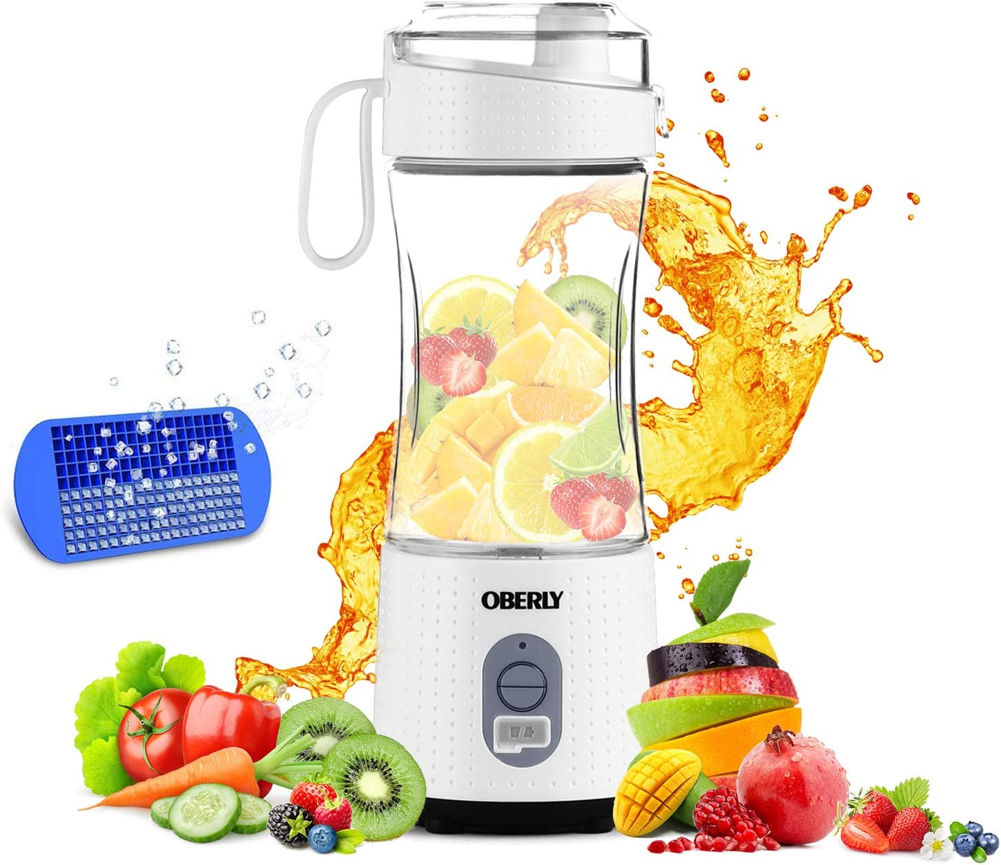 Portable Blender, OBERLY Personal Juicer Cup for Shakes and Smoothies - Six Blades in 3D, 13oz Fruit Mixing Machine with 4000mAh USB Rechargeable Batteries, Ice Tray, Detachable Cup, Perfect Blender for Travel, Outdoor