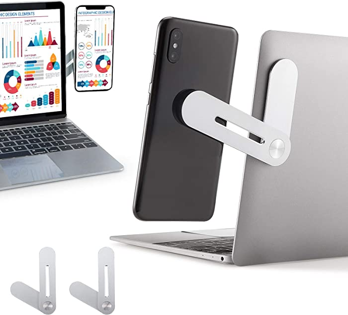 2 Pieces LaptopCellPhoneMount, Magnetic Laptop Expansion Cellphone Stand Laptop Side Mount Magnetic Cellphone Mount Enjoying Dual Screen at The Same Time, Fixed Flat and Slim Safety