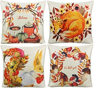 VAKADO Autumn Farmhouse Decorative Throw Pillow Covers Orange Fall Theme Leaves Pumpkin Fox Squirrel Cushion Cases Outdoor Home Décor for Thanksgiving Couch Sofa Patio 18x18 Set of 4