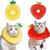 Vehomy 2 collares ajustables de recuperación de gatos para gatitos y cachorros. Bonito cuello de piña, fresa, cono de…