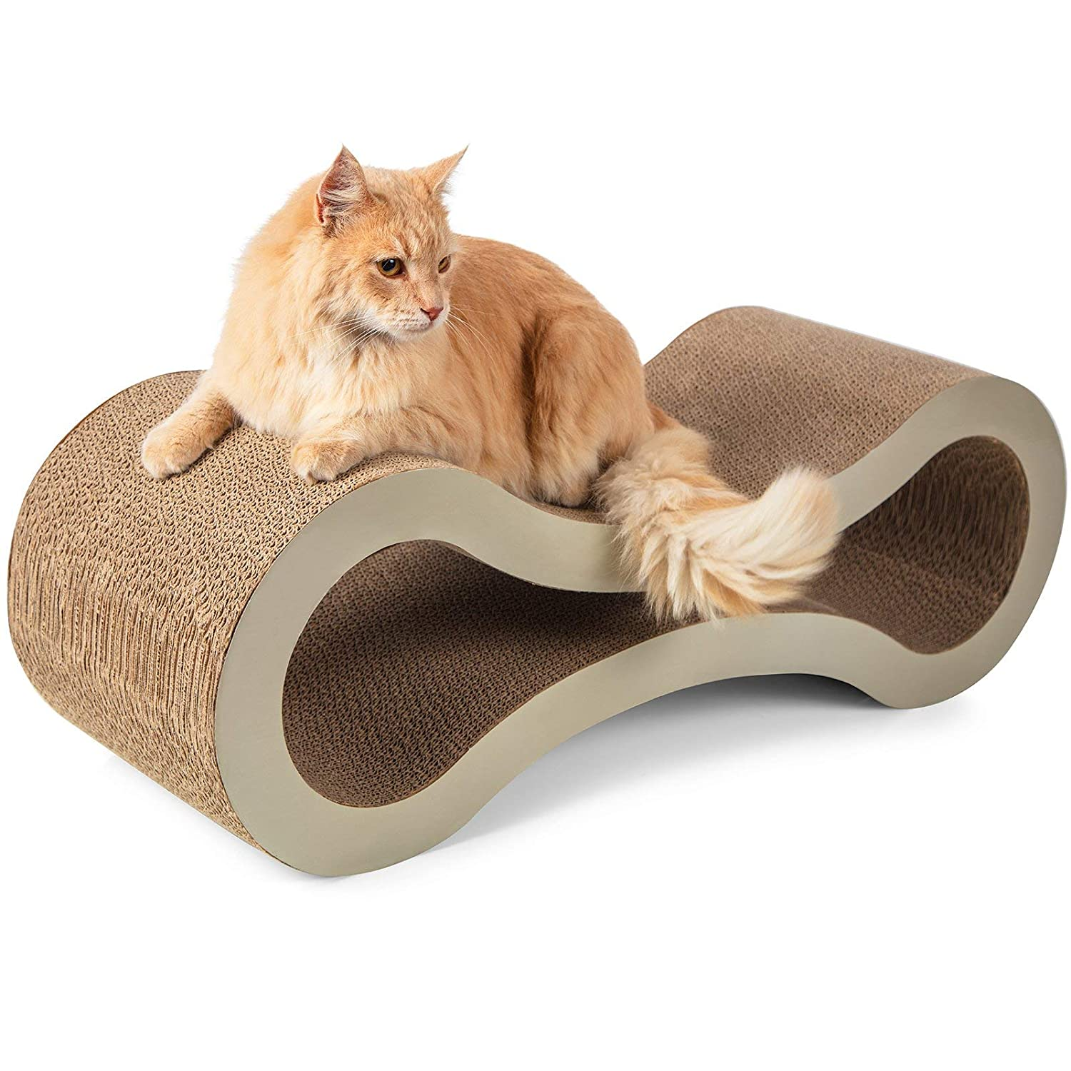 Beige Paws & Pals Cat Scratcher Lounge Post 32 x11 x11  Inches Cardboard Furniture Construction with Catnip