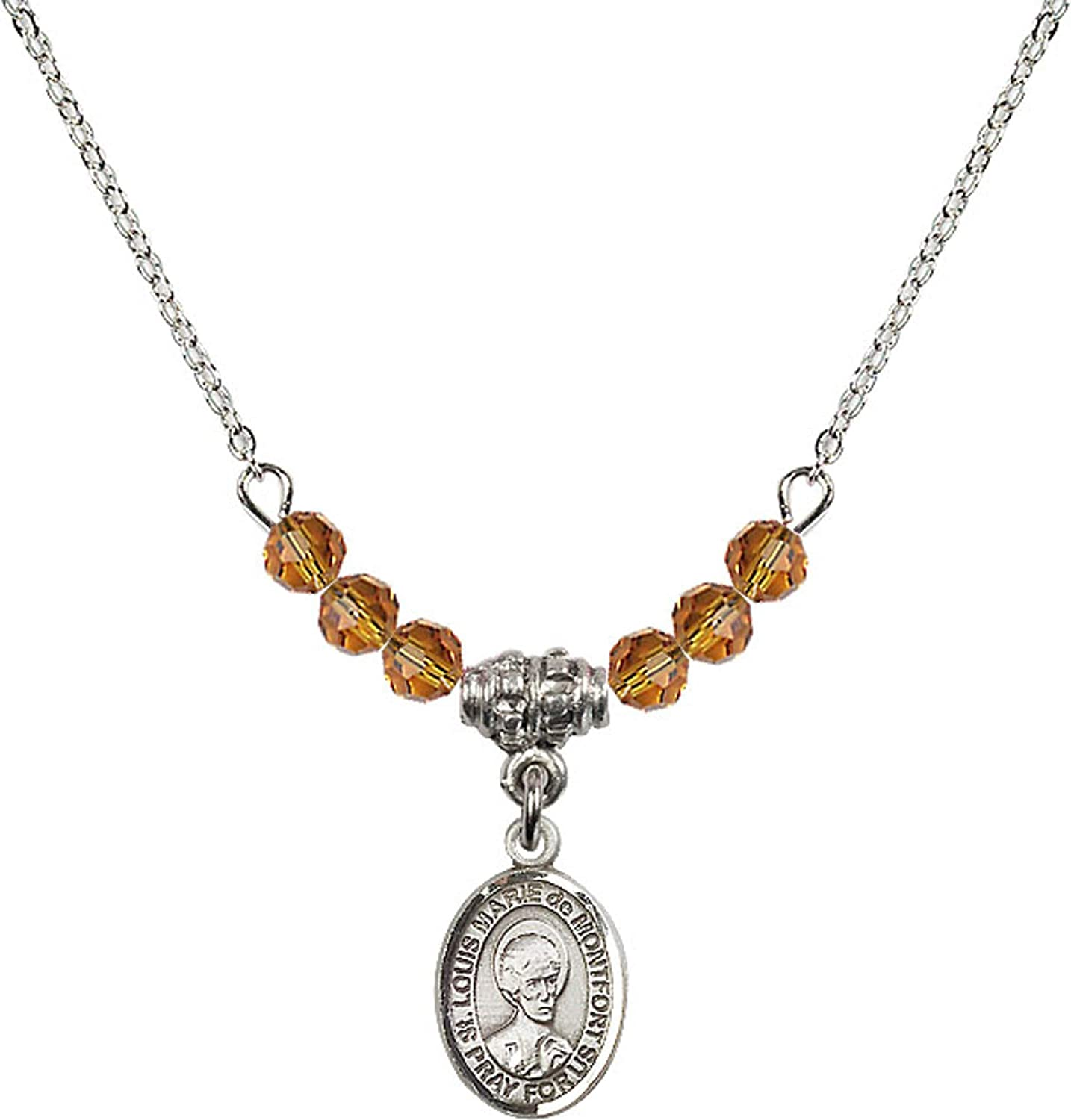 Bonyak Jewelry 18 Inch Rhodium Plated Necklace w// 4mm Yellow November Birth Month Stone Beads and Saint Louis Marie de Montfort Charm