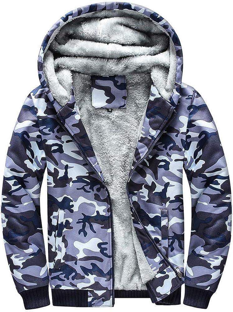 2DXuixsh Camouflage Coats Fleece Hoodie Casual Zip Up Heavyweight Hooded Jacket Warm Outwear for Men