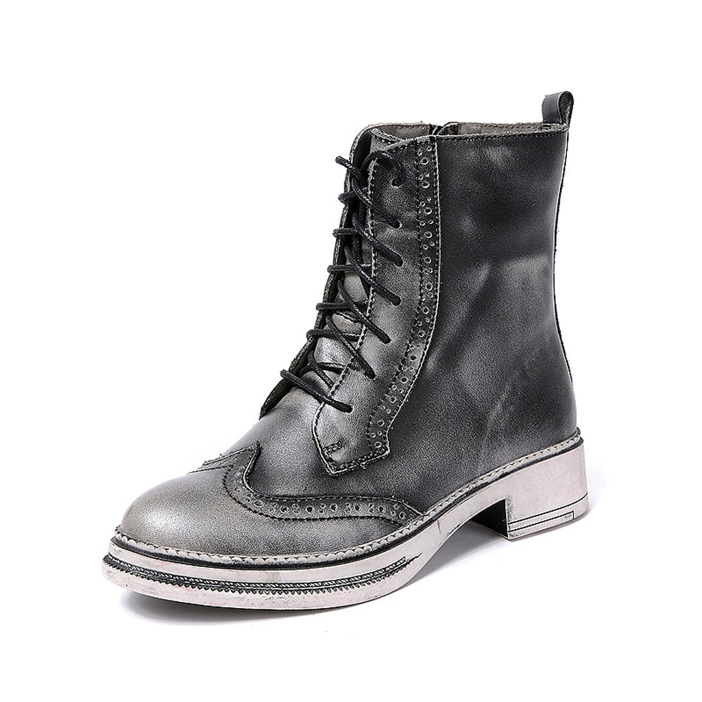Women 's Martin boots autumn and winter retro genuine leather knights boots personality handmade shoes ( Color : Gray , Size : US:5UK:4EUR:35 ) by LI SHI XIANG SHOP (Image #1)